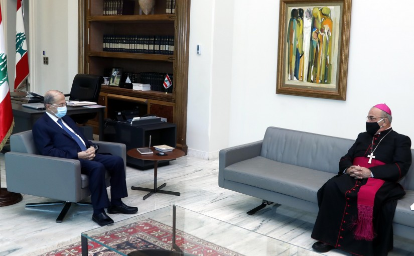 President Michel Aoun meets Bishop Michel Kasarji.
