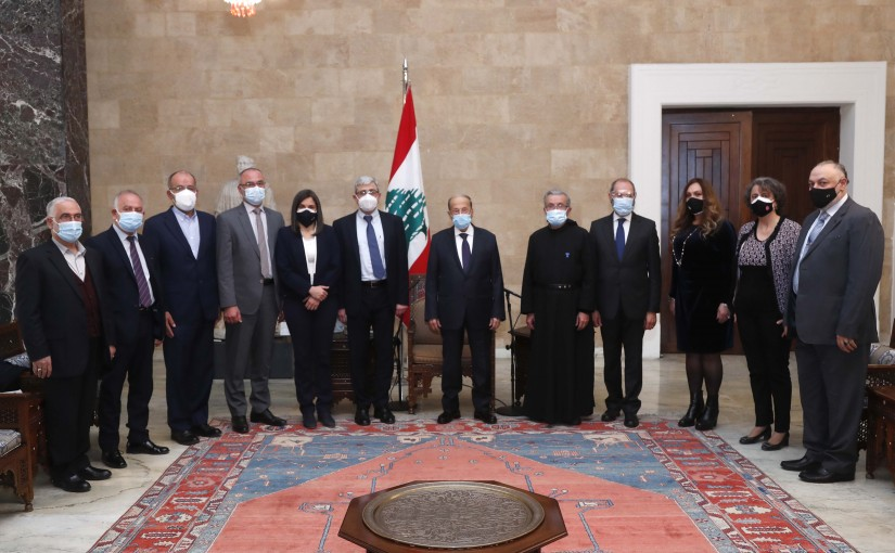President Michel Aoun meets the Minister of Education and Higher Education Judge Tareq Al-Majzoub with a delegation.