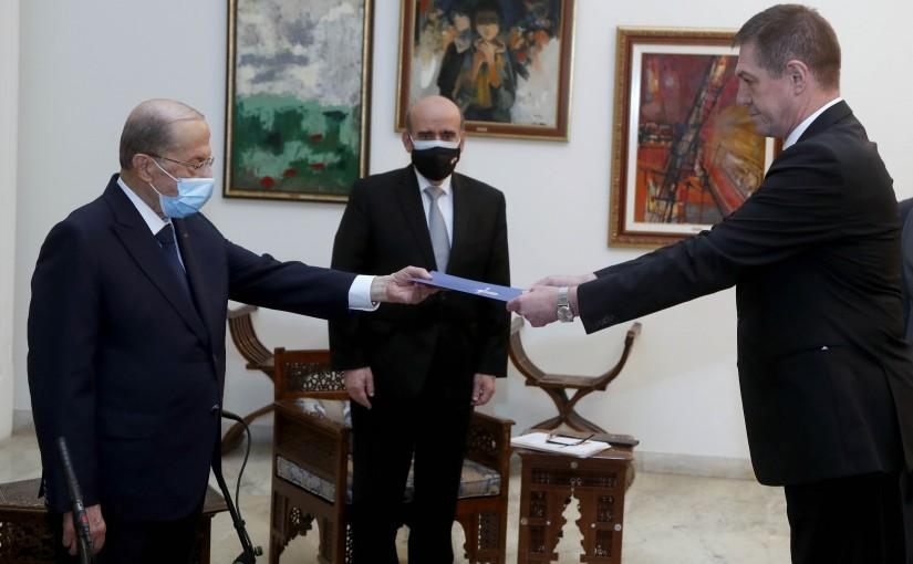 President Michel Aoun receives the credentials of the Ambassador of the Republic of Romania.