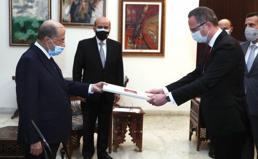 President Michel Aoun receives the credentials of the Ambassador of the   Turkish Republic.