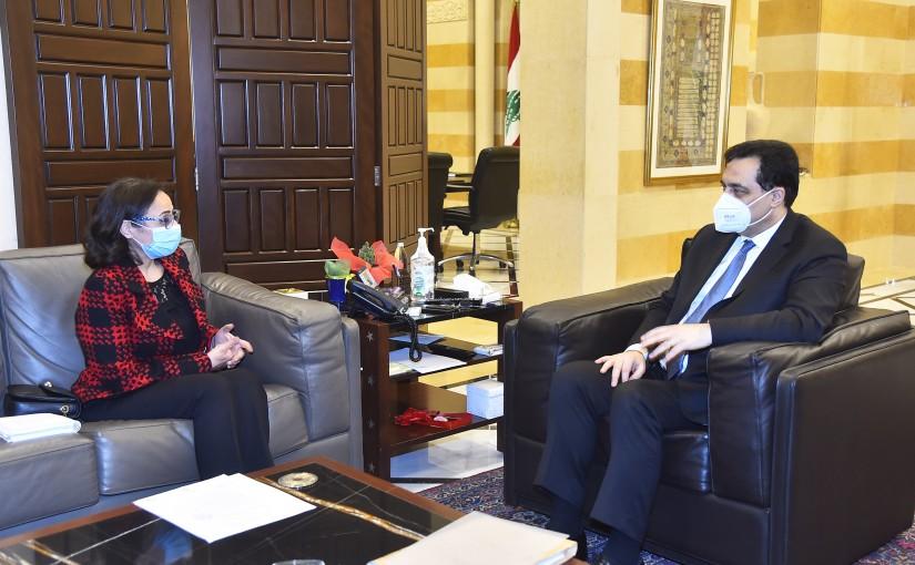 Pr Minister Hassan Diab meets Mrs Nissrine Machmouchi
