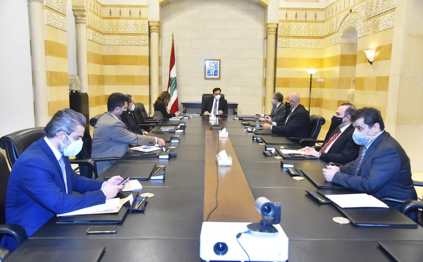Pr Minister Hassan Diab meets Minister Zeina Akkar with a Delegation