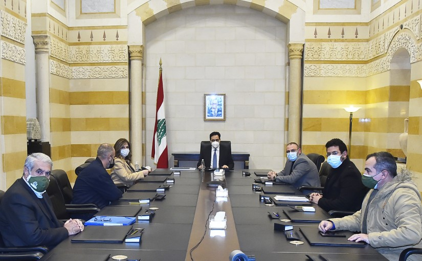 Pr Minister Hassan Diab meets Minister Lamaya Yamin with a Delegation