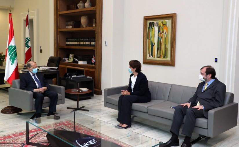 President Michel Aoun meets French Ambassador Anne Grillo.