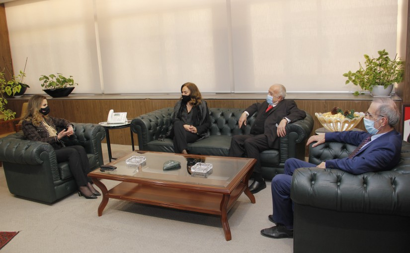 Minister Manal Abdel Samad meets Mrs Lina Ouwaydat with a Delegation