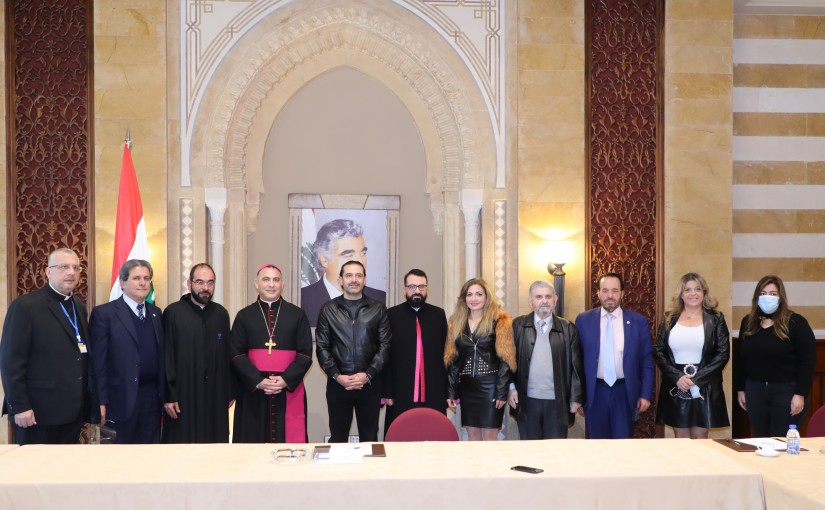 Pr Minister Saad Hariri meets Bishop Charles Mourad with a Delegation