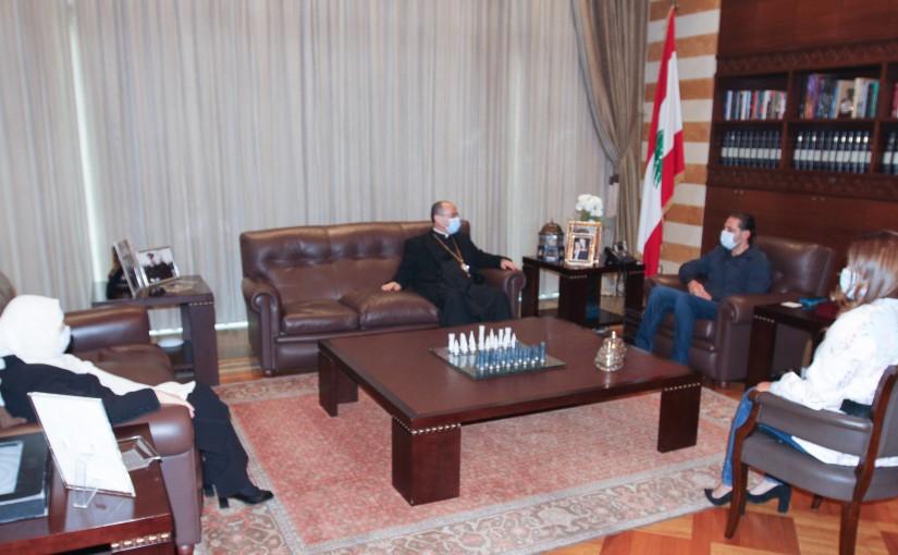 Pr Minister Saad Hariri meets Bishop Elias Hadad with a Delegation