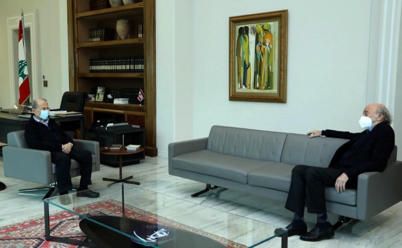 President Michel Aoun meets   Leader of Progressive Socialist Party Walid Kamal Jumblatt.