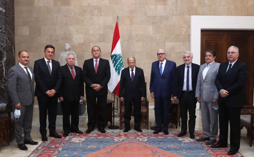 President Michel Aoun meets Minister Imad Hoballah with a Delegation of members of the Industrialist Association Board office.