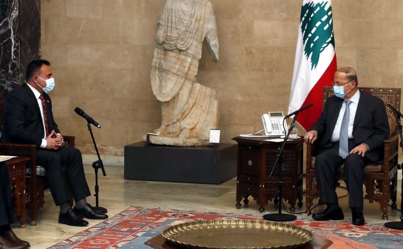 President Michel Aoun meets Iraqi Health Minister Hassan Tamimi.