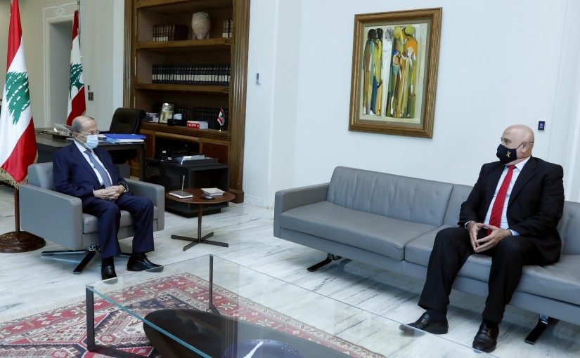 President Michel Aoun meets the Minister of Industry in the caretaker government, Imad Hoballah.