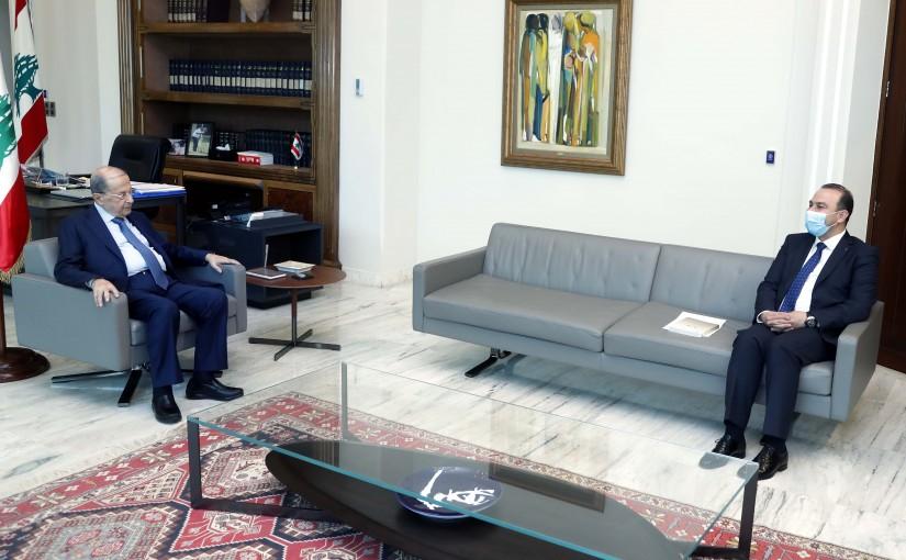 President Michel Aoun meets Minister Abbas Mortada.