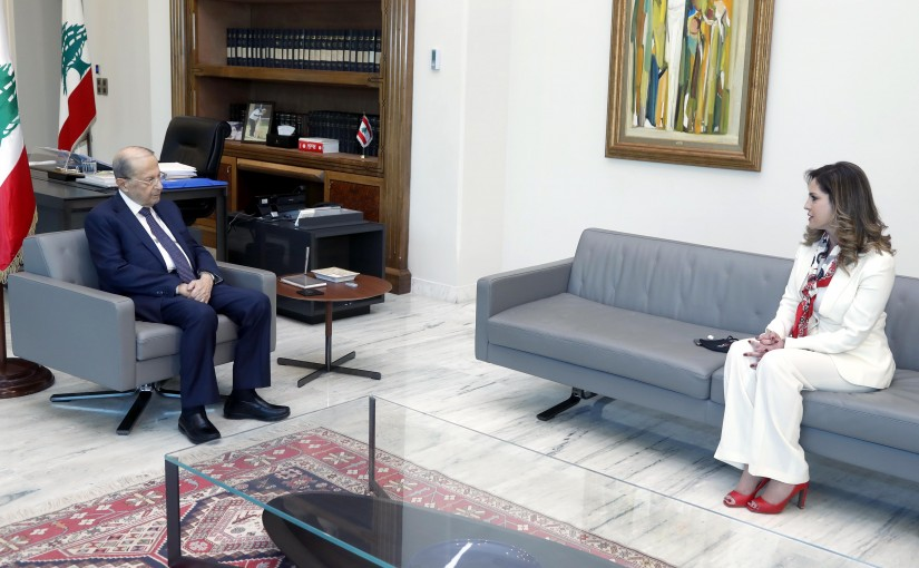 President Michel Aoun meets Minister Manal Abdel Samad.
