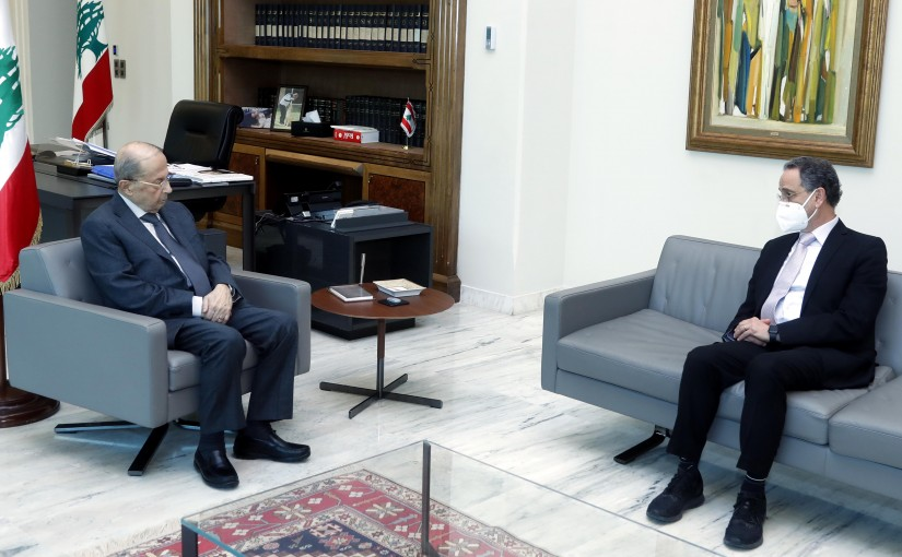 President Michel Aoun meets Minister Raoul Nehme.
