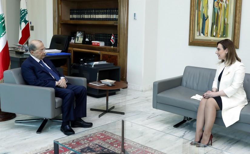 President Michel Aoun meets Minister Vartine Ohanian.