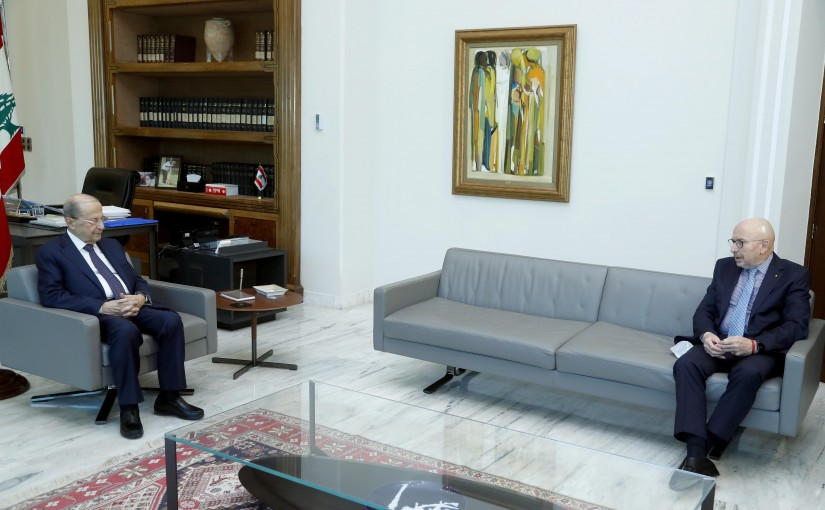 President Michel Aoun meets the Ambassador of Uruguay, Ricardo Naro.