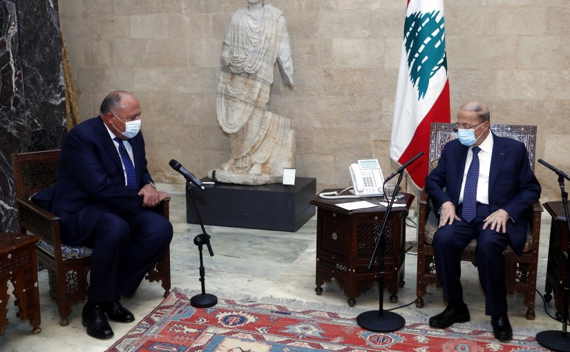 President Michel Aoun received Egyptian Foreign Minister Sameh Shoukry with a delegation.
