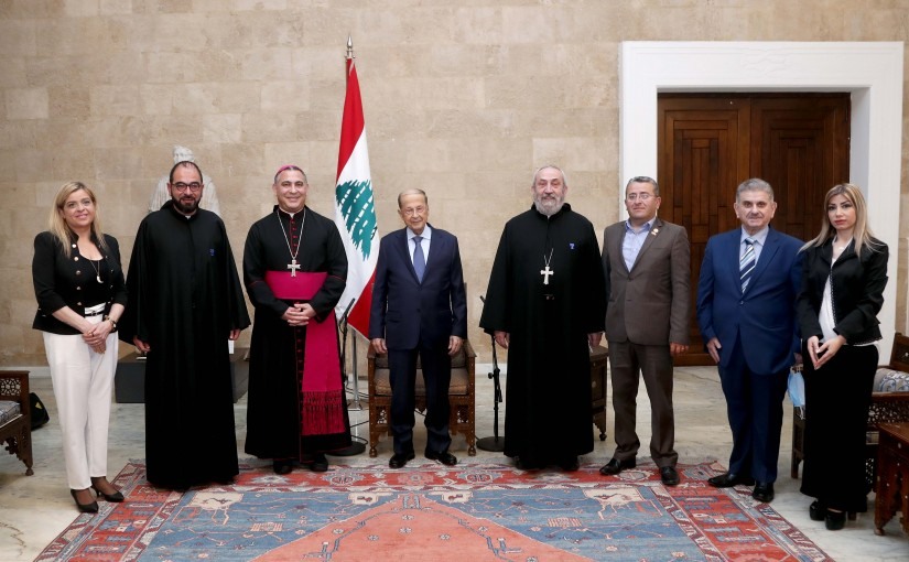 President Michel Aoun meets A  Delegation  of the Episcopal Committee for Christian _ Muslim Dialogue.