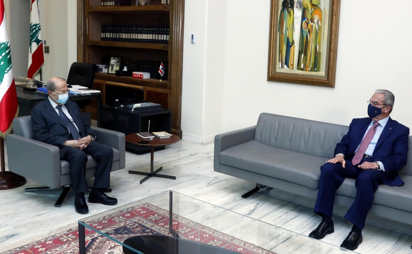 President Michel Aoun meets the Dean of the Maronite General Council, former Minister Wadieh Al-Khazen.