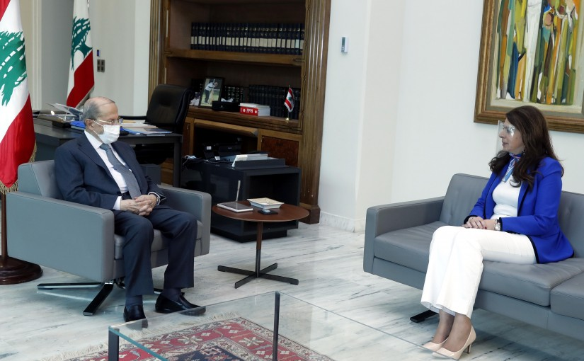 President Michel Aoun meets Minister of Displaced, Dr. Ghada Shraim.