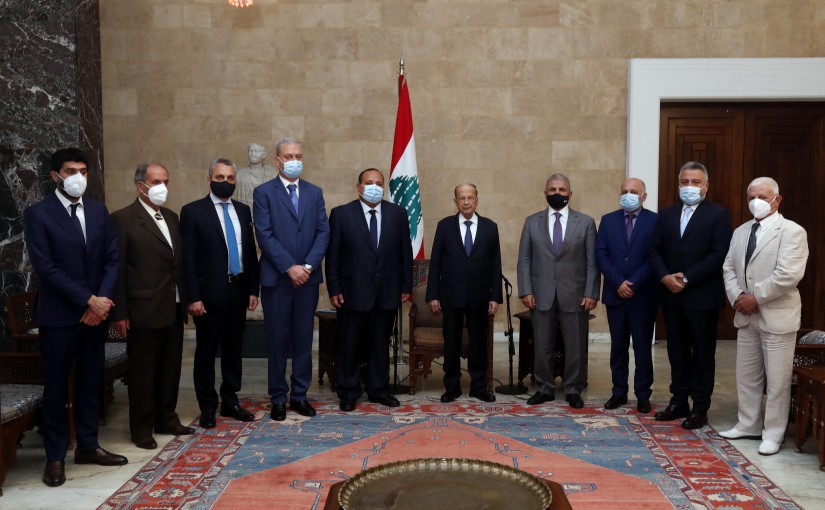 President Michel Aoun meets a delegation of the Syrian Social National Party.