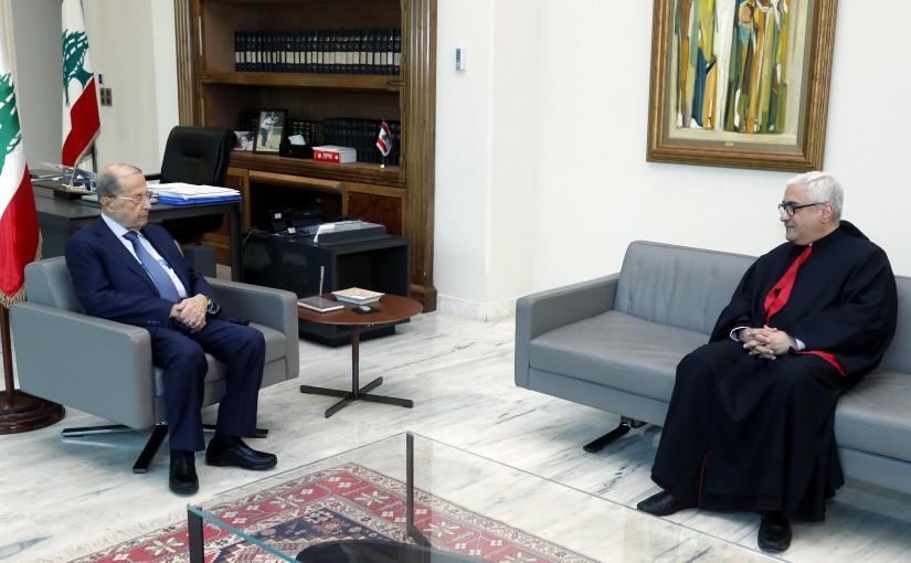 President Michel Aoun meets Bishop Boulos Abdel-Sater.