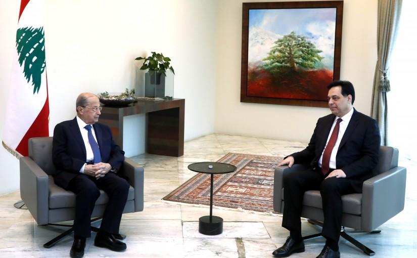 President Michel Aoun meets  Caretaker Prime Minister Hassan Diab.
