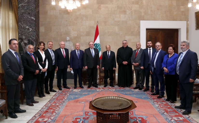 President Michel Aoun meets MP Dr. Farid Boustany with a Constructing and equipping of the Deir El Qamar Govermental Hospital delegation.