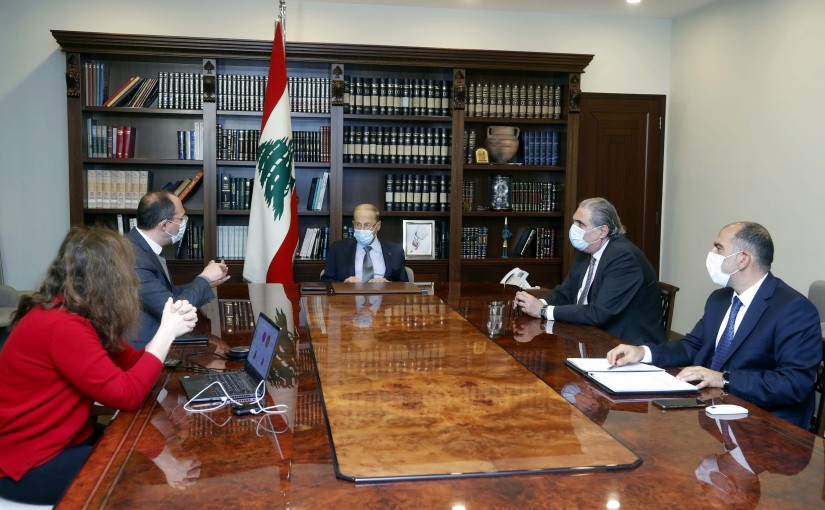 President Michel Aoun chairs a meeting to present the Impact electronic platform project.