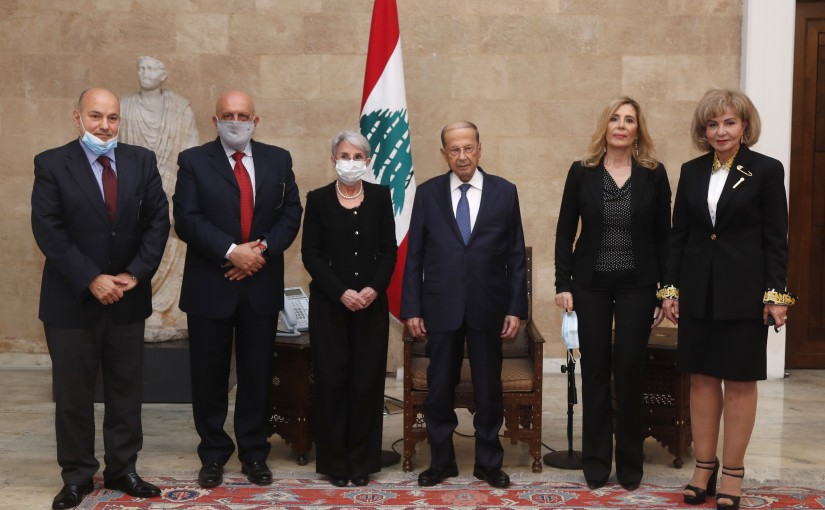 President Michel Aoun meets  A delegation of the National Authority to support the initiative of the President aimed at regional cooperation and the establishment of an economic market that includes Lebanon, Syria, Iraq and Jordan.