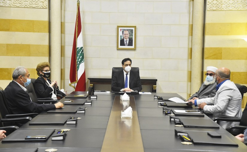 Pr Minister Hassan Diab meets a Delegation from Lebanese Families