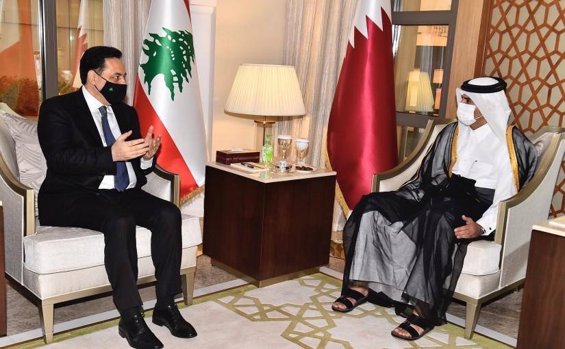 Pr Minister Hassan Diab meets Qatar Pr Minister Khalid bin Abdulaziz Al Thani