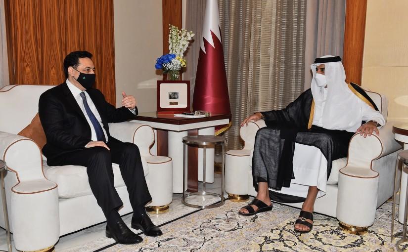 Pr Minister Hassan Diab meets Qatar Prince Tamim bin Hamad al-Thani