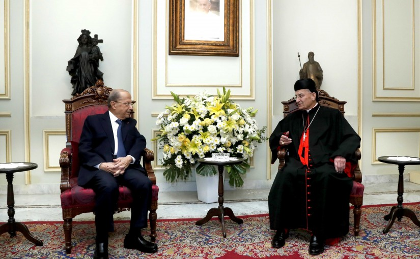 President Michel Aoun visit Bkerke to congratulate the Patriarch on the glorious Easter holiday
