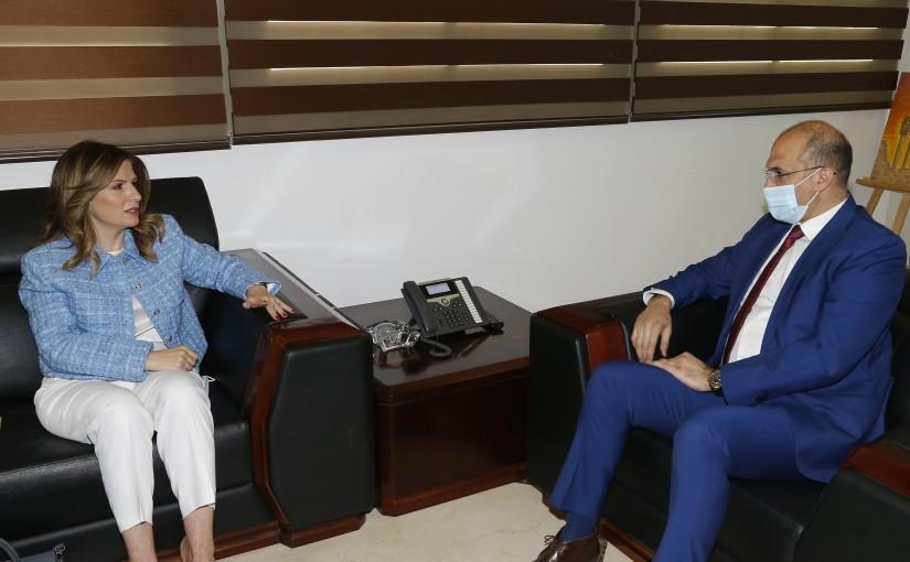 Minister Hassan Hamad meets Minister Lamya Yamine