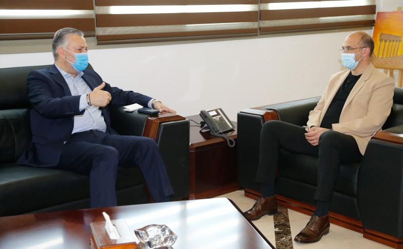 Minister Hassan Hamad meets MP Hadi Houbeich