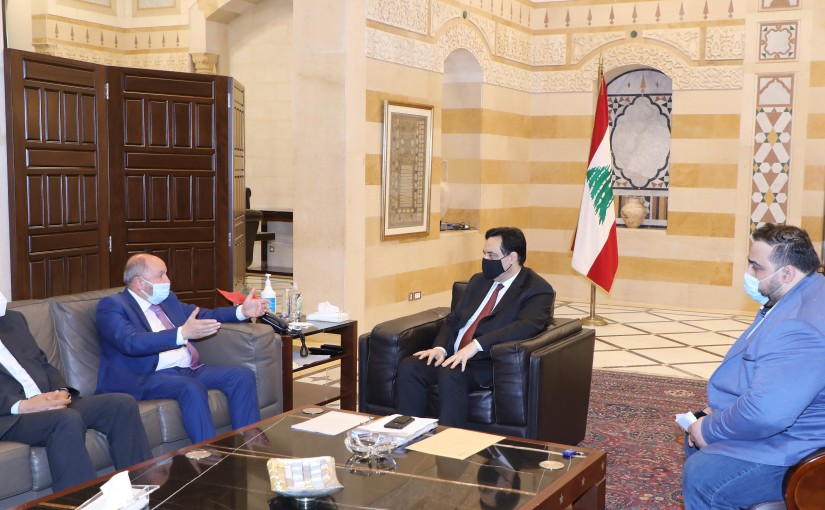Pr Minister Hassan Diab meets Mr Bechara Asmar with a Delegation