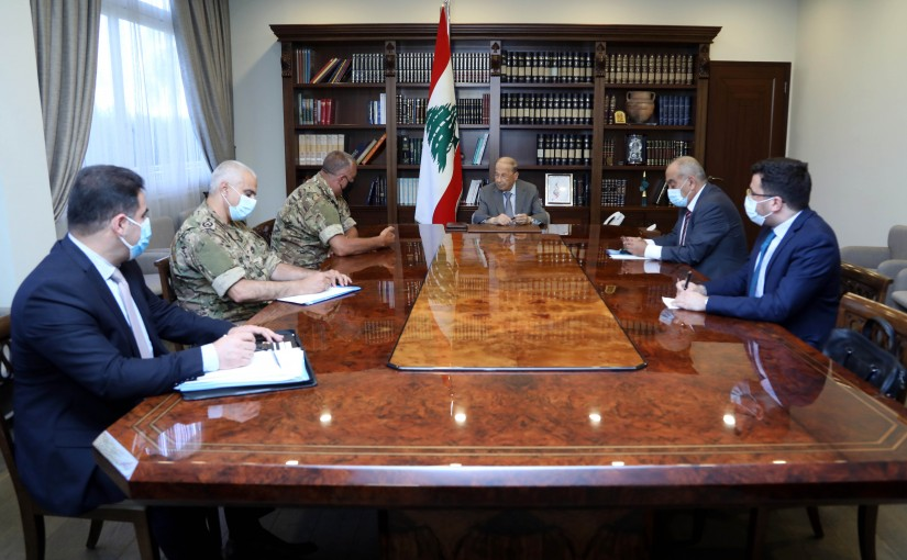 President Michel Aoun meets The Lebanese delegation in charge of indirect technical negotiations to demarcate the southern maritime borders