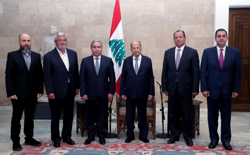 President Michel Aoun Meets Minister Ramzi Mcharafieh with a Delegation