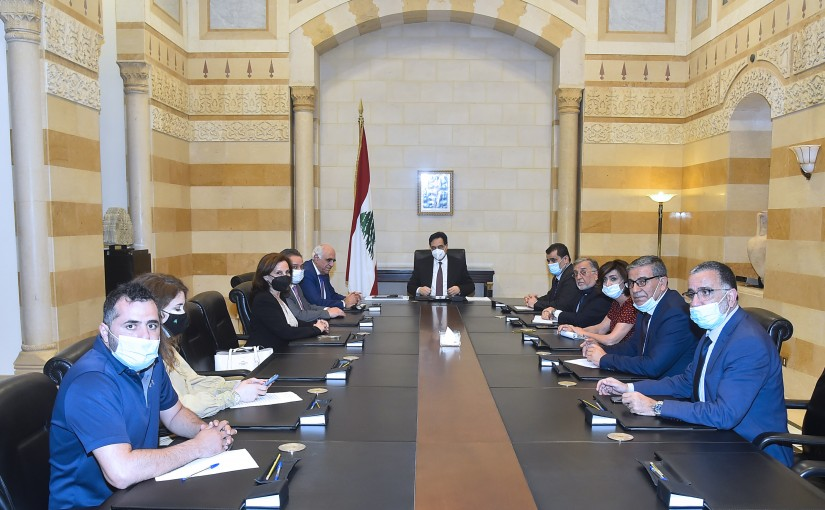 Pr Minister Hassan Diab meets a Delegation from Press Syndicate