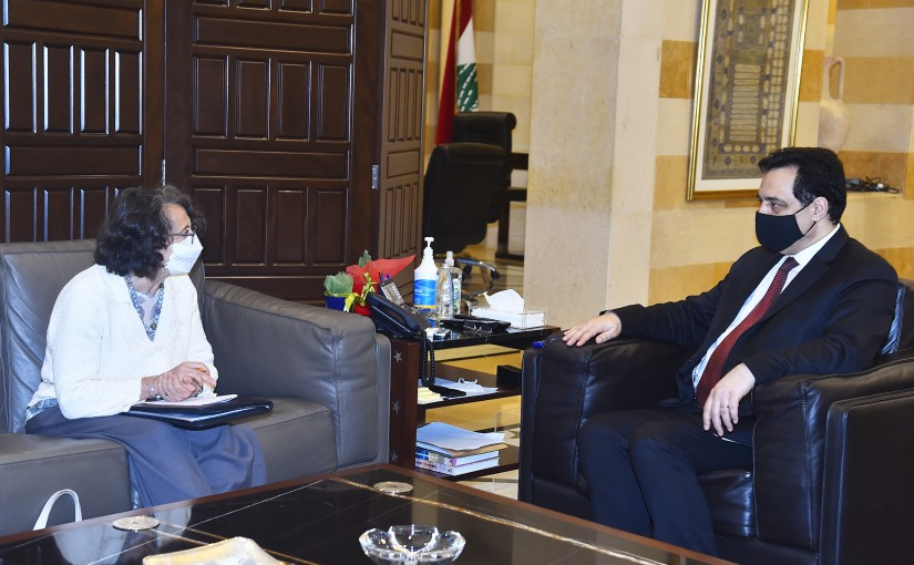 Pr Minister Hassan Diab meets Italian Deputy Minister of Foreign Affairs Marina Sereni