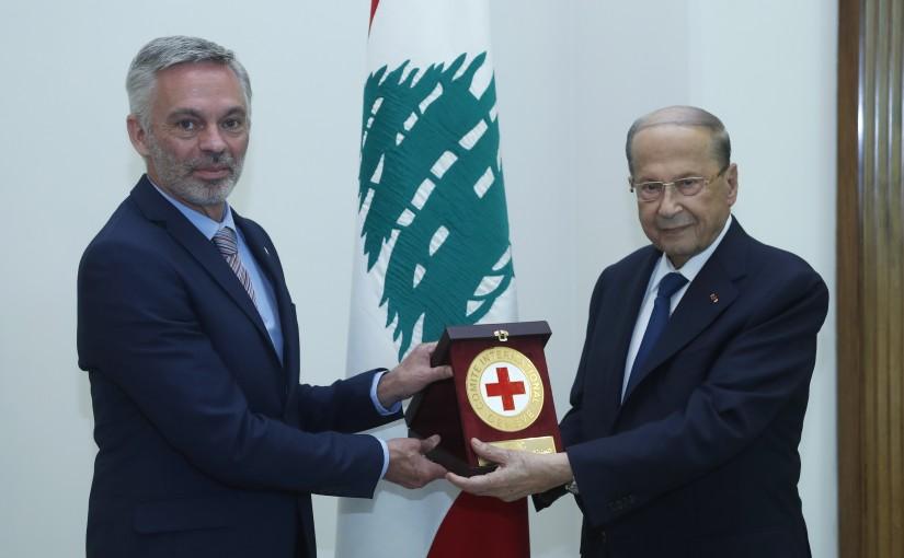 President Michel Aoun Meets Mr Christophe Martin Head of The International Red Cross in Lebanon