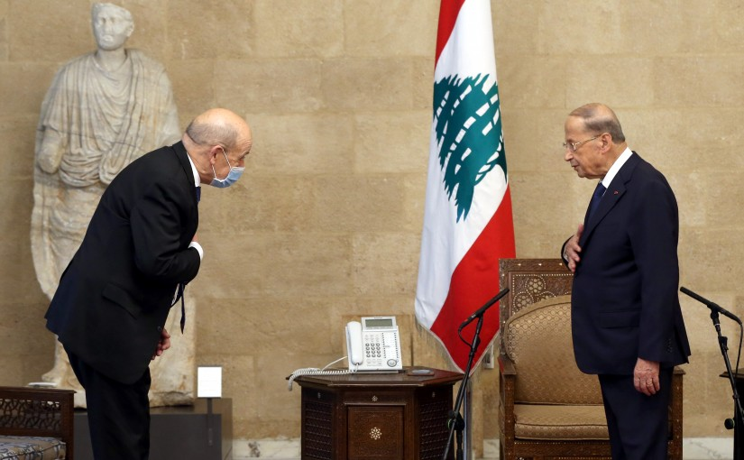 President Michel Aoun Meets French Minister of Foreign Affairs Jean Yves Le Drian
