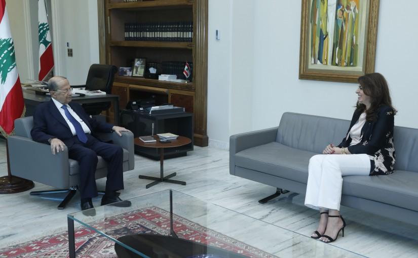 President Michel Aoun Meets Minister Ghada Chreim