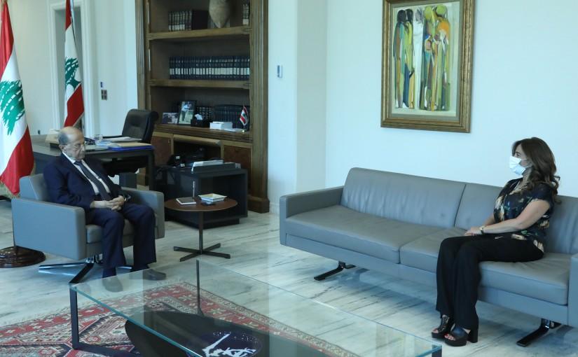 President Michel Aoun Meets Minister Zeina Akkar