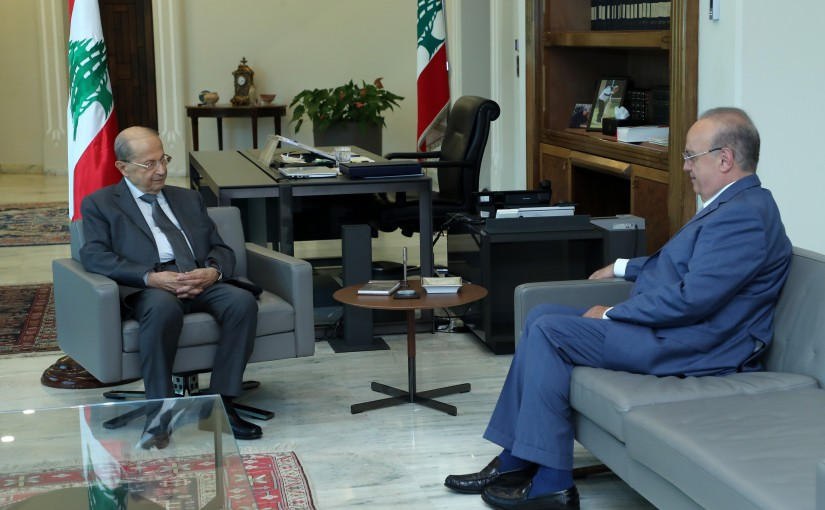 President Michel Aoun meets Former Minister Wiam Wahab