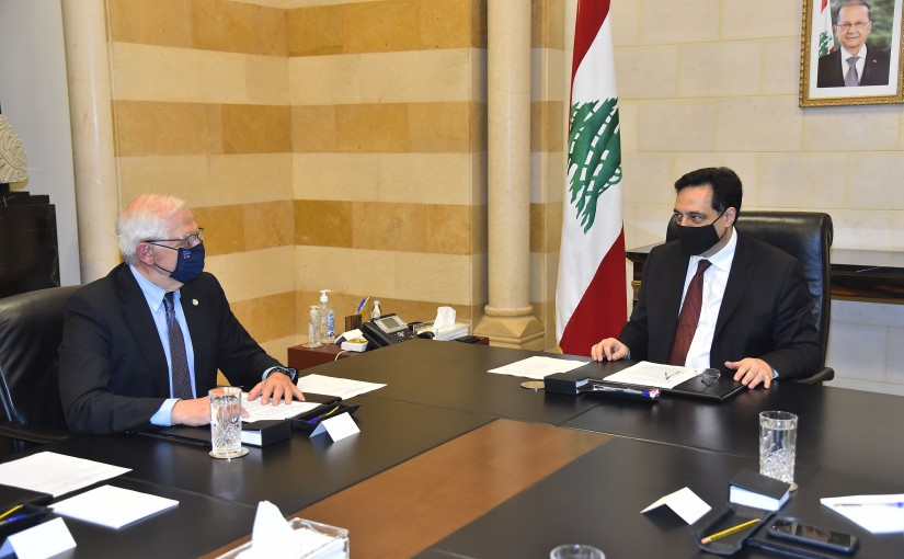 Pr Minister Hassan Diab meets High Representative of the European Union For Foreign Affairs and Security Policy Mr Joseph Borell Fontelles