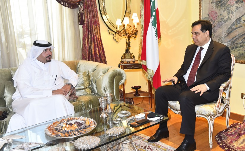 Pr Minister Hassan Diab meets Qatar Ambassador