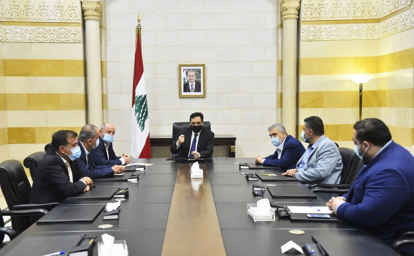 Pr Minister Hassan Diab meets a Delegation from Syndicate Labour