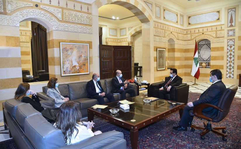 Pr Minister Hassan Diab meets Judge Mouhamad Bedran with a Delegation